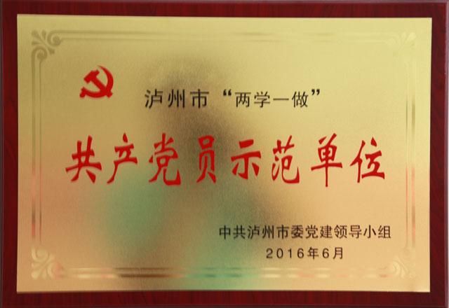 """泸州市""""两学一做""""共产党员示范单位"""